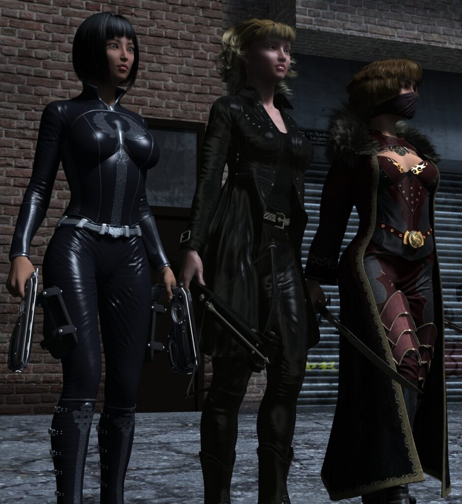 Left to right: Double Six, Bolt and Swordswoman